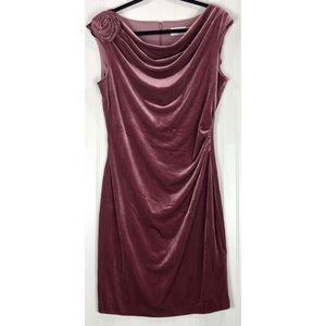Eliza J pink sleeveless velvet drape dress 8635